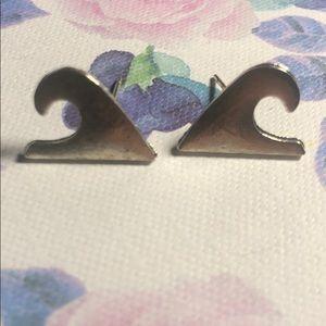 Silver Wave Stud Earrings